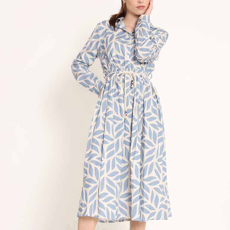 Leah Midi Shirt Dress In Cotton With Blue Leaf Print