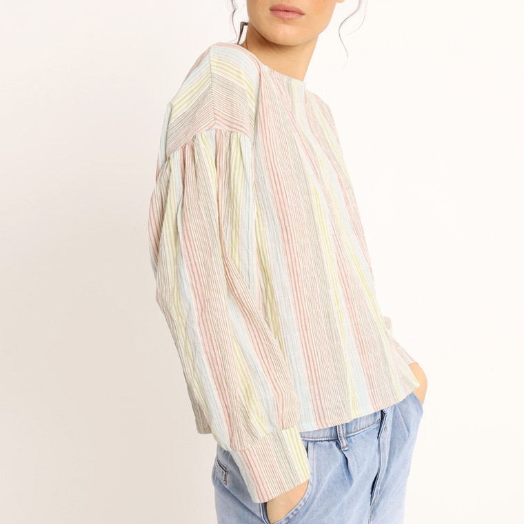 Lagom Pippa Striped Cotton Blouse in Pastel Colours