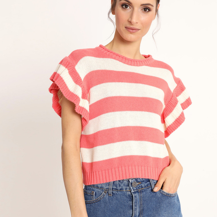 Lagom Gelato Striped Knit Top with Frilly Sleeves