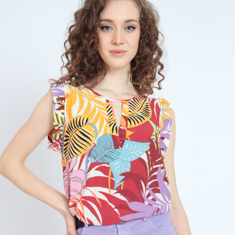 Mai Tai Sleeveless Viscose Blouse in Exotic Print Front View