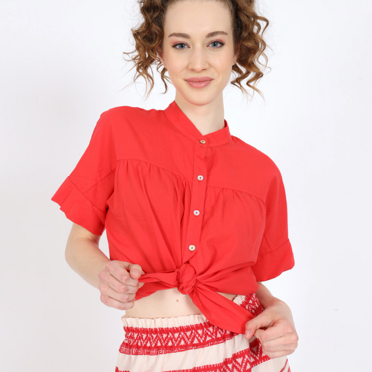 Daiquiri Oversized Shirt in Red Cotton Front View