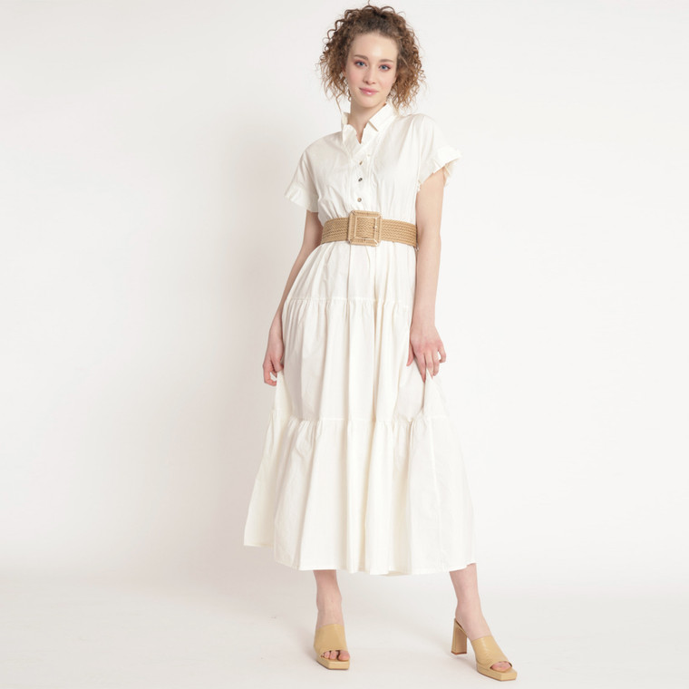Alexandra Cream Cotton Maxi Dress With Pleated Collar