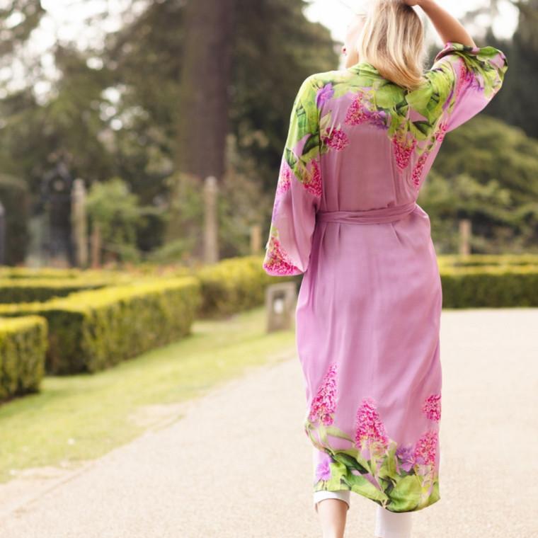 Buddleia Art Print Kimono Long Robe
