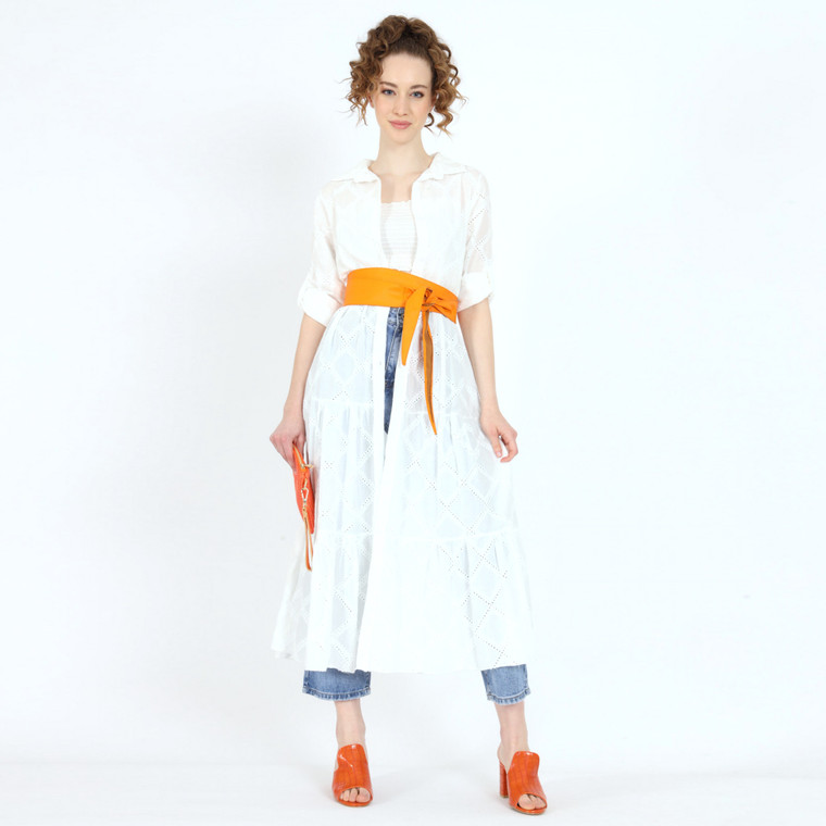 Maria White Cotton Tiered Broderie Maxi Dress