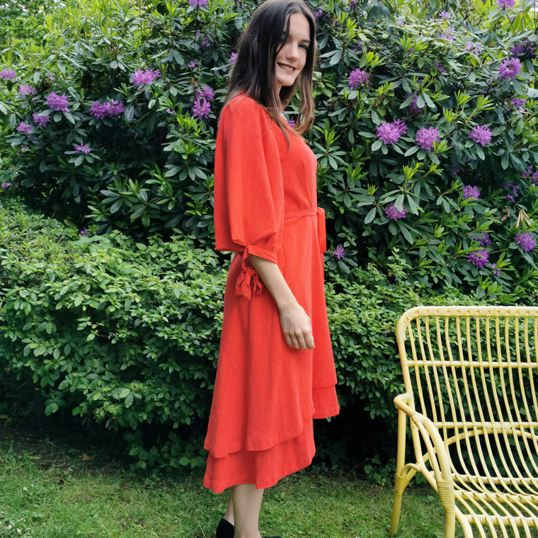 Anna Linen Blend Wrap Dress in Coral Red
