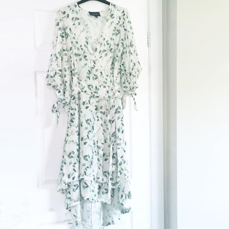 Anna Linen Blend Wrap Dress in White-Green Leaf Print