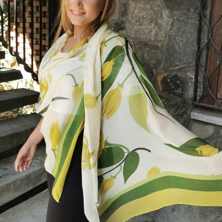 Amalfi Bamboo Scarf With Yellow Green Floral Print