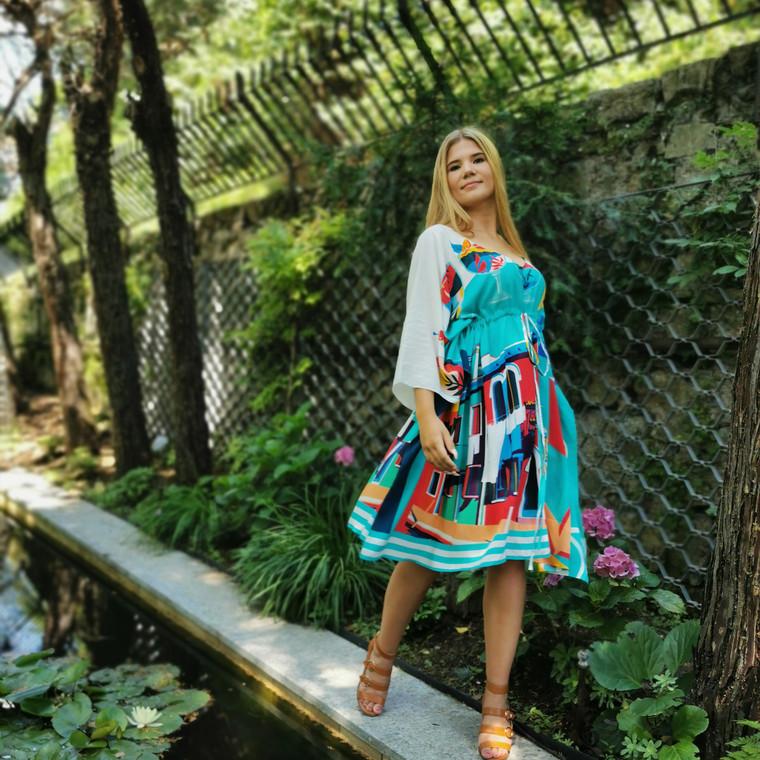 Burano Kaftan Dress With Bold Art Print