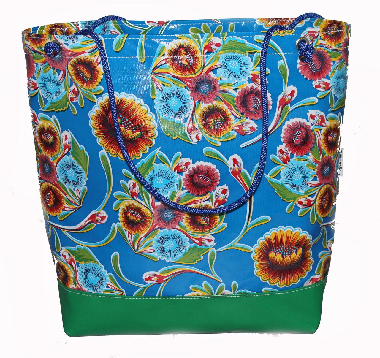 Beach Bag  Oil Australian Made  cloth with a double base 43cm L x 41cm H x 17cm D