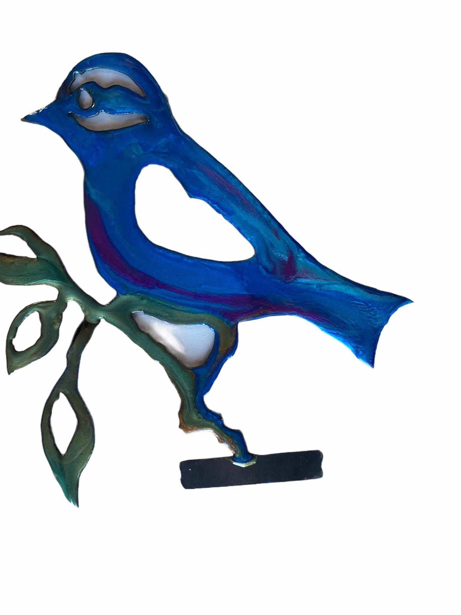 Plasma Resin Garden Art Bird on a branch