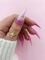 Lecente Pink Emerald Shimmer Film Nail Art