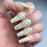 Lecente Floral Blanket Foil Nail Design