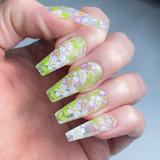 Lecente Light Pink Flowers Foil Nail Design