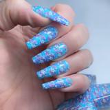 Lecente Floral Quilt Foil Nail Design