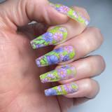 Lecente Lilac Flowers Foil Nail Design