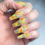 Lecente Spring Flowers Foil Nail Design