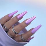 Lecente Blush Pink Iridescent Flakes Nail Art