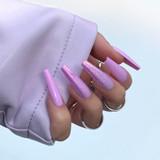 Lecente Blush Pink Iridescent Flakes Nail Design