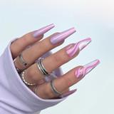 Lecente Miami Pink Pearlescent Powder Nail Design