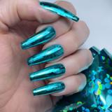 Lecente Turquoise Floral Foil