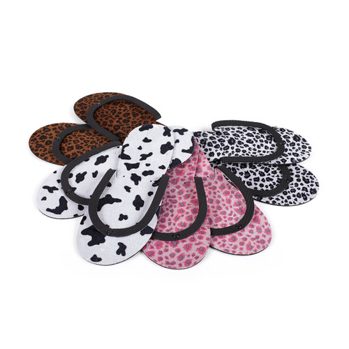 Animal Print Slippers 12 pack (3 x Prints)