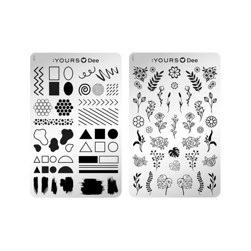 :YOURS Floral Frame Double Sided Stamping Plate