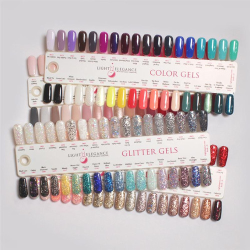 Color and Glitter Gel Nail Tip Chart