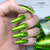 Lecente Lime Green Holographic Lines Foil Nail Art