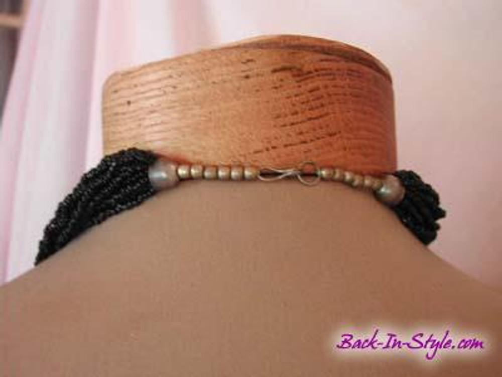 Black Multi-Strand Beaded Necklace