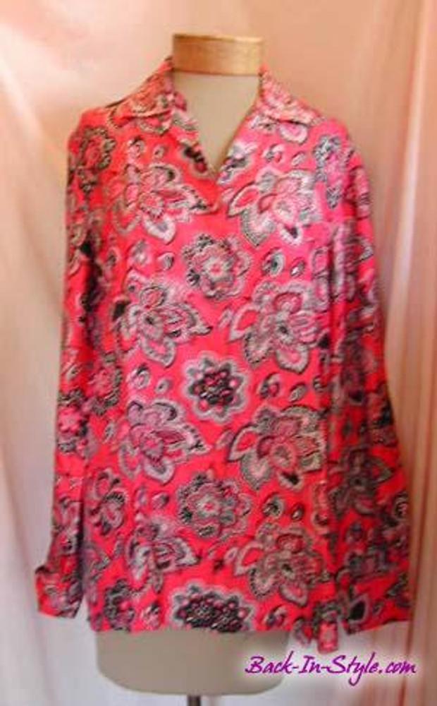 Emilio Pucci Pink & Black Floral Silk Blouse