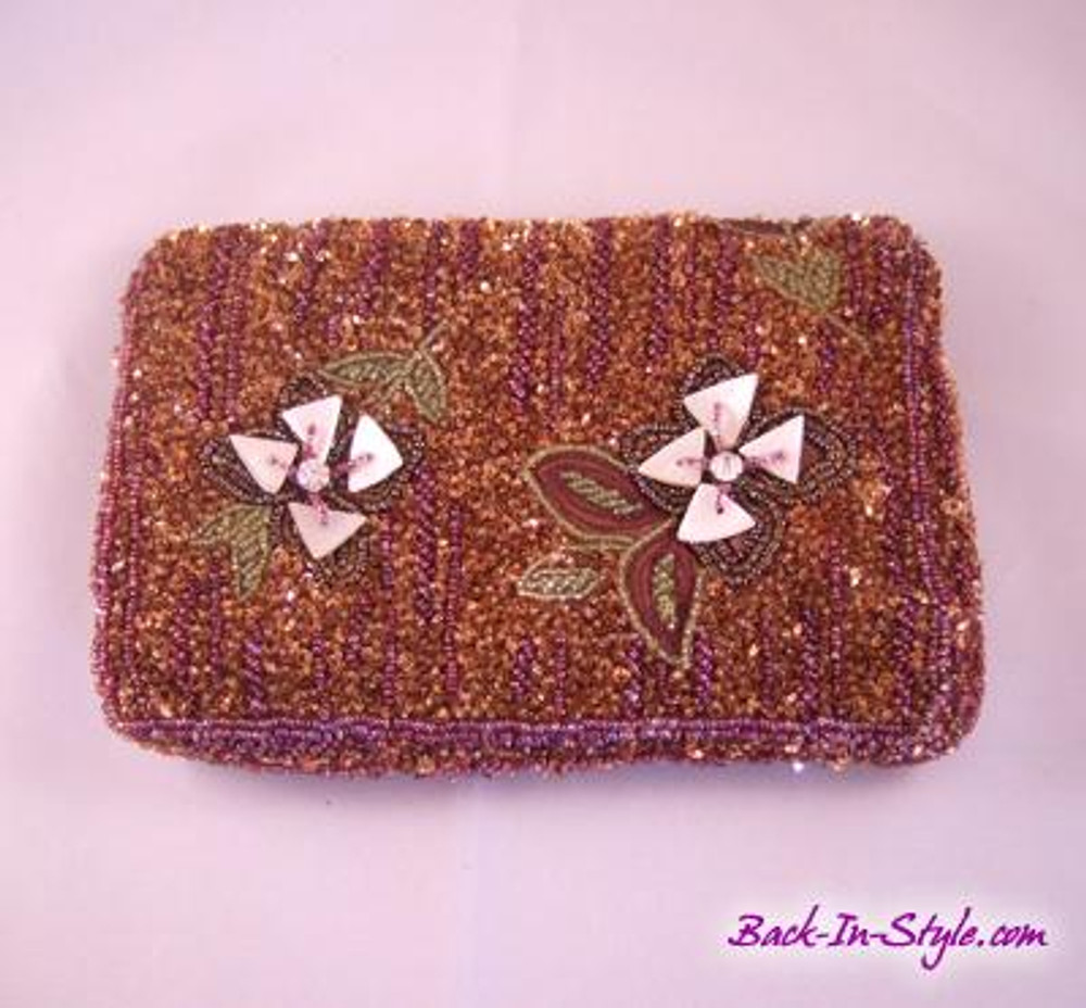 Christiana Brown Beaded Clutch
