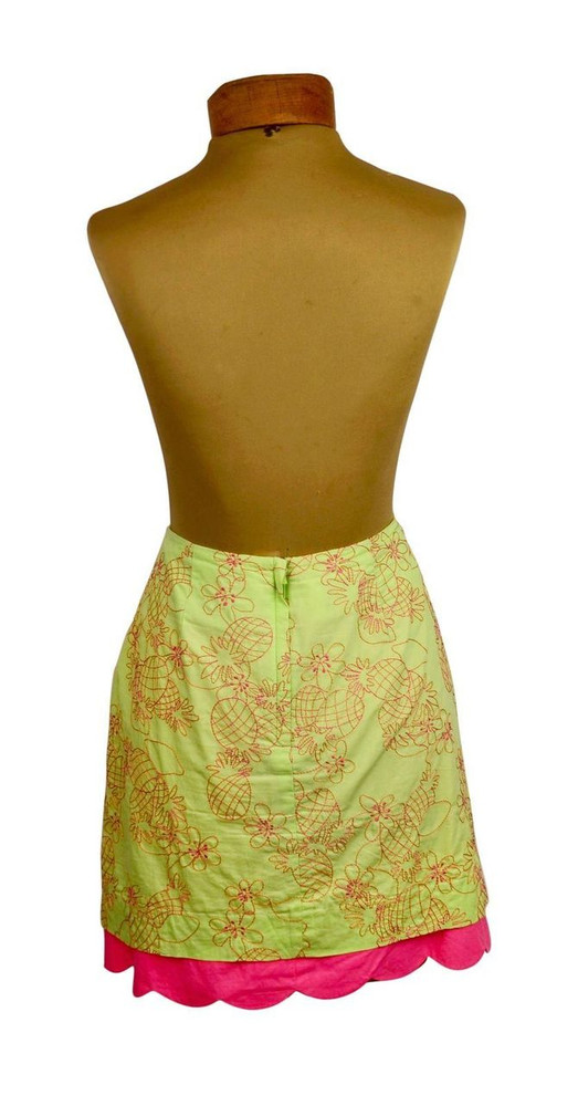 Lilly Pulitzer Mint Green Skirt with Hot Pink Embroidered Pineapples and Scalloped Hem