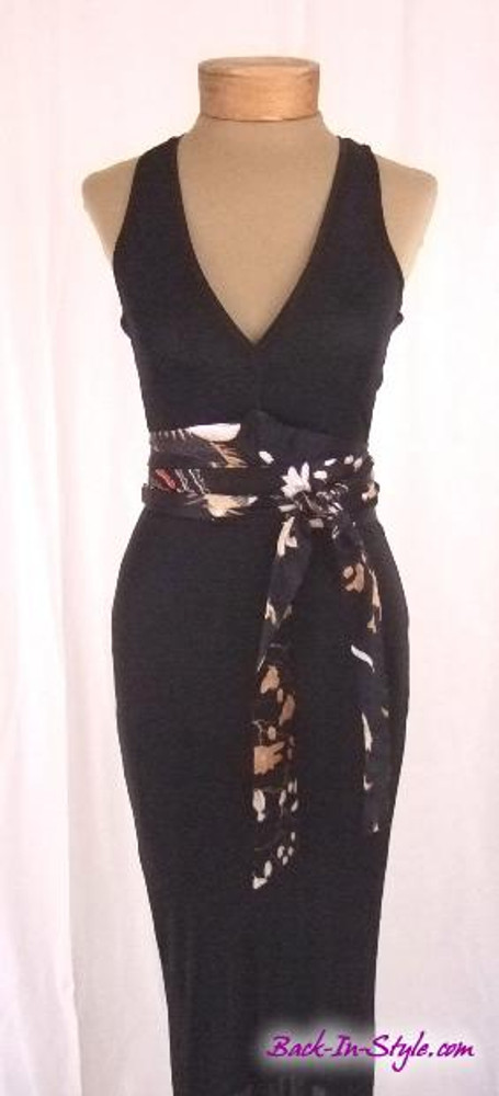 Just Cavalli Black Jersey Asian Style Belted Dress