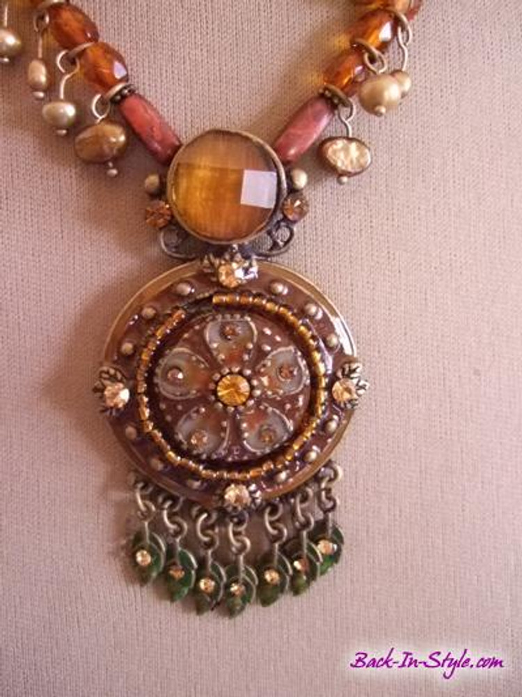 Brown jeweled floral medallion necklace