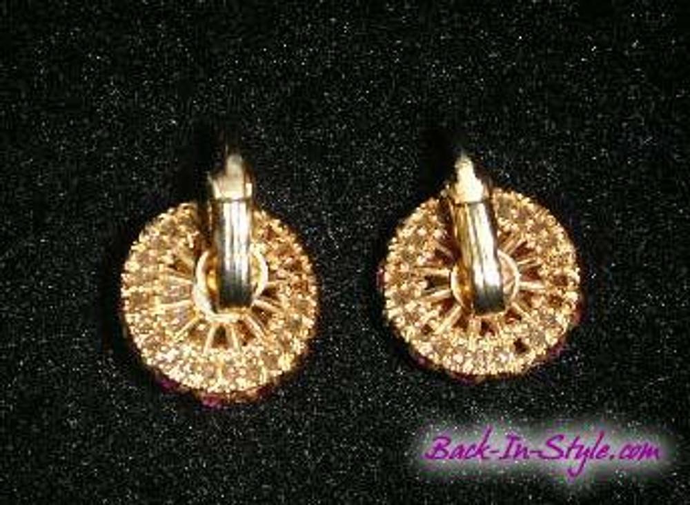 Pink rhinestone button ear clips