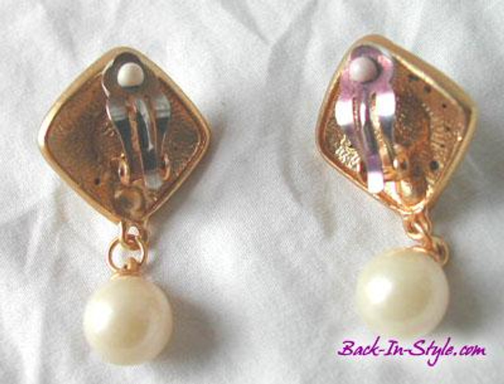 Vintage Gold-Tone Pearl & Rhinestone Drop Earrings