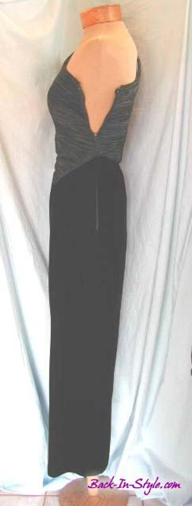 Mary McFadden Black Velvet Asymmetrical Dress