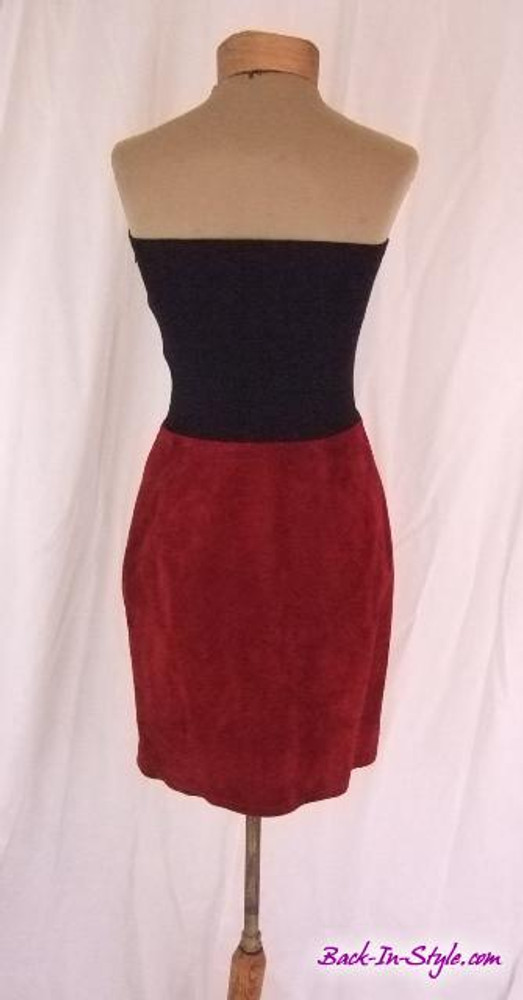 Anne Klein Strapless Dress with Black Knit Bodice and Maroon Suede Skirt