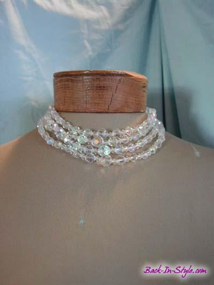 1950s Quadruple Strand Crystal Necklace