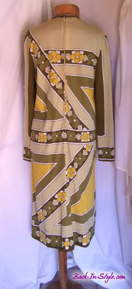 Vintage Paganne Green Retro Floral Jersey Dress