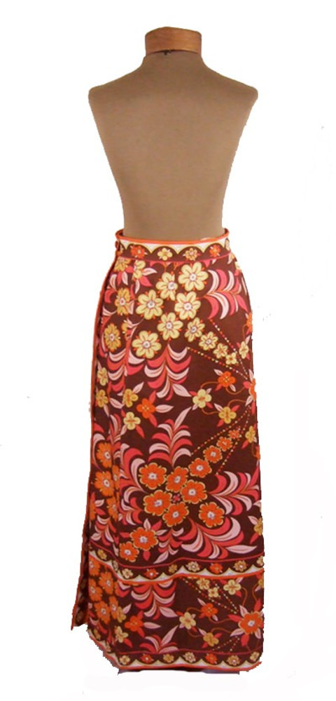 Emilio Pucci Earth Toned Cotton Floral Hostess Maxi Skirt