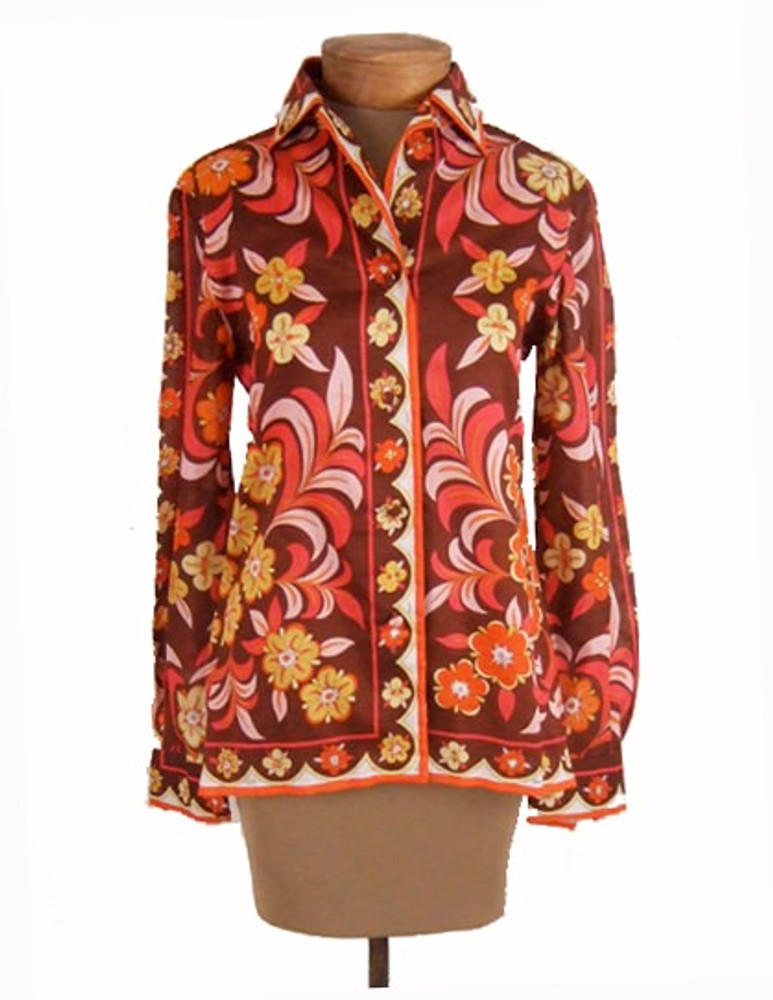 Vintage 1960s Emilio Pucci Earth Toned Cotton Blouse