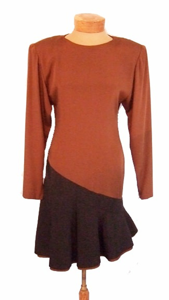 Galanos Asymmetrical Brown & Black Color Blocked Silk Dress