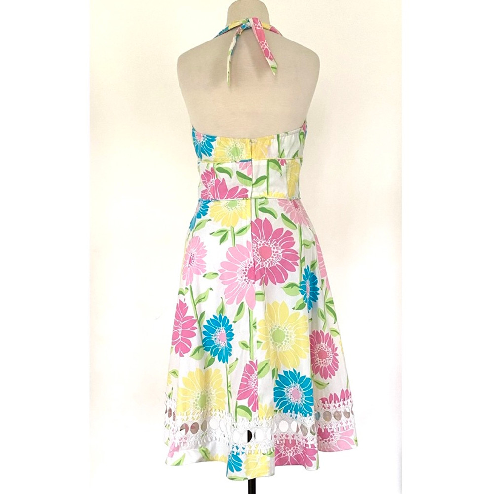 Lilly Pulitzer Floral Halter Dress with White Applique Trim