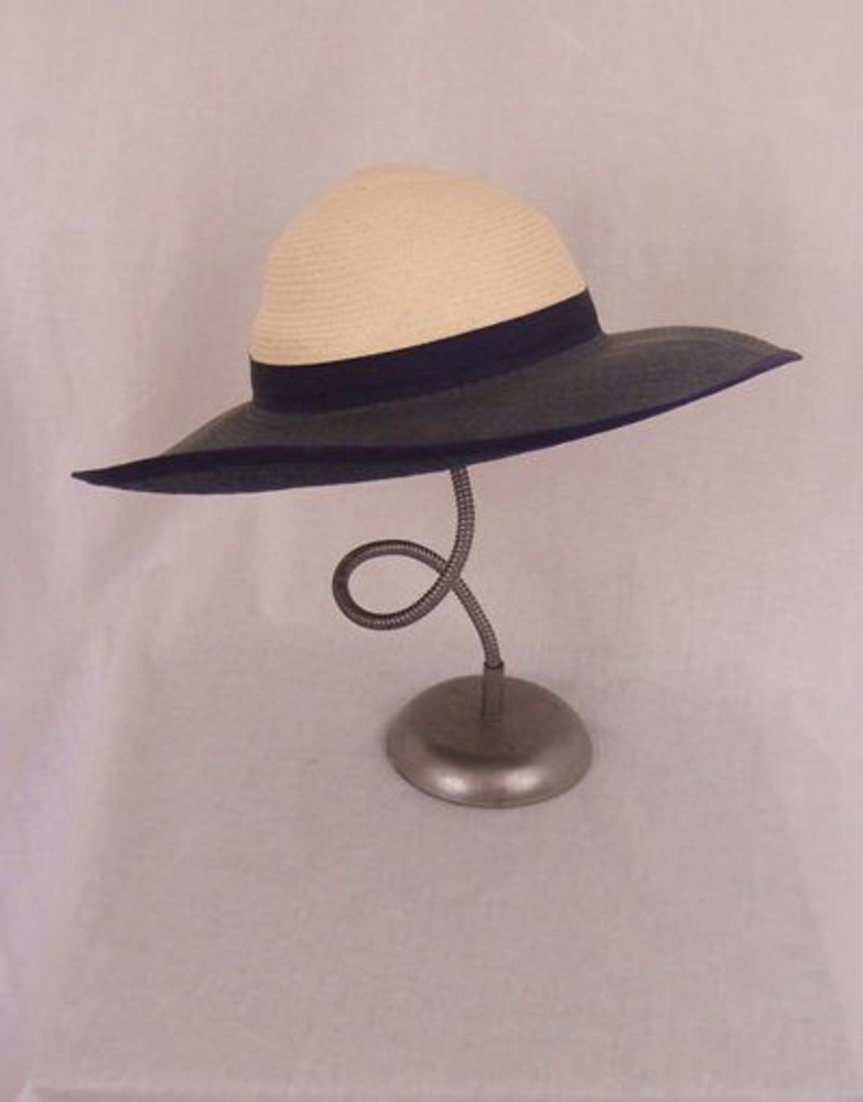 Navy blue & white woven straw wide brim hat with bow