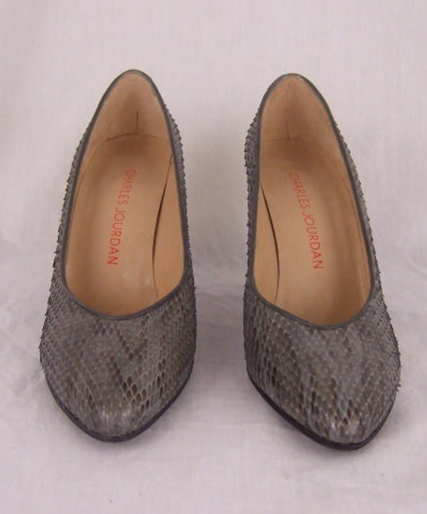 Charles Jourdan Gray Snakeskin Pumps