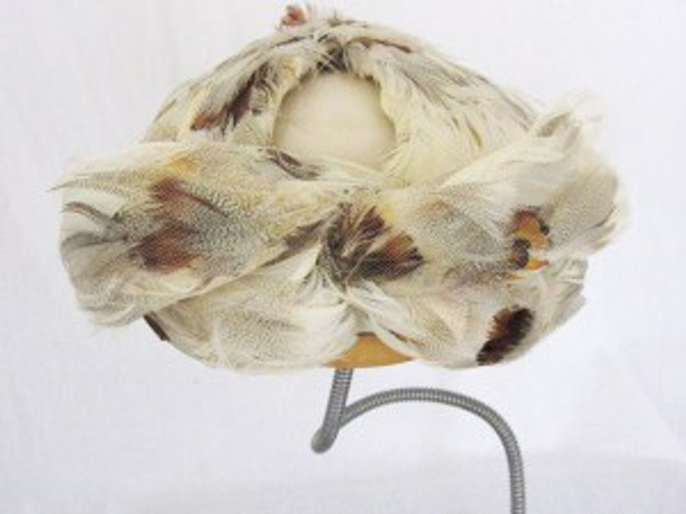 Vintage Tan Feathered Cocktail Hat