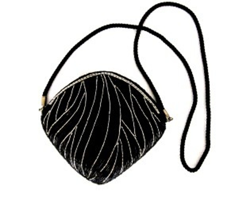 Black & Silver Beaded Cross Body Bag