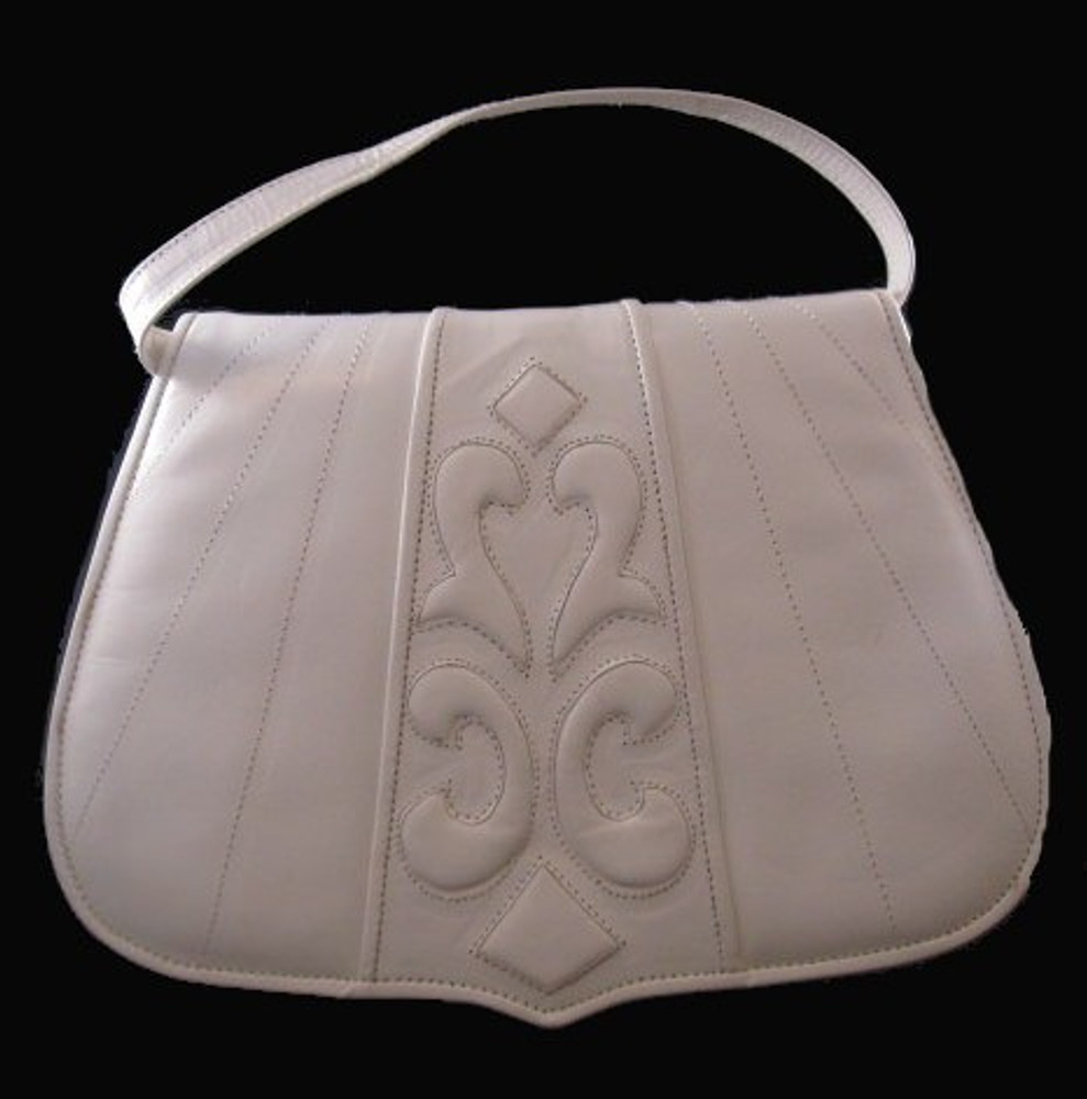 Barbara Bolan White Leather Handbag with Interesting Design