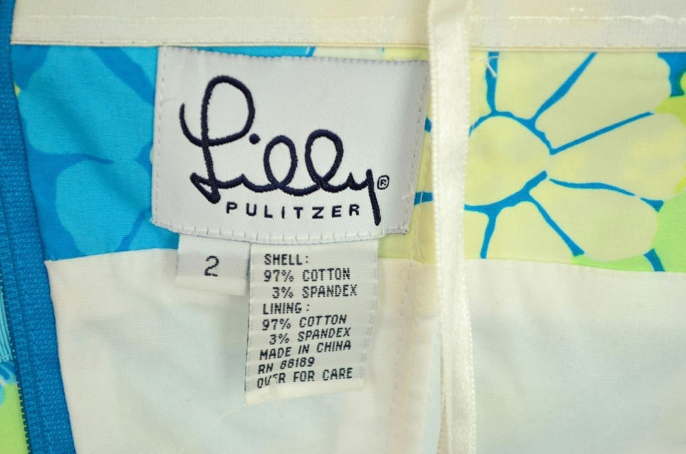 Lilly Pulitzer Strapless Blue & Yellow Floral Cotton Dress